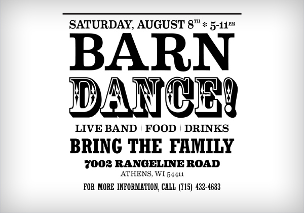 Barn Dance Typography